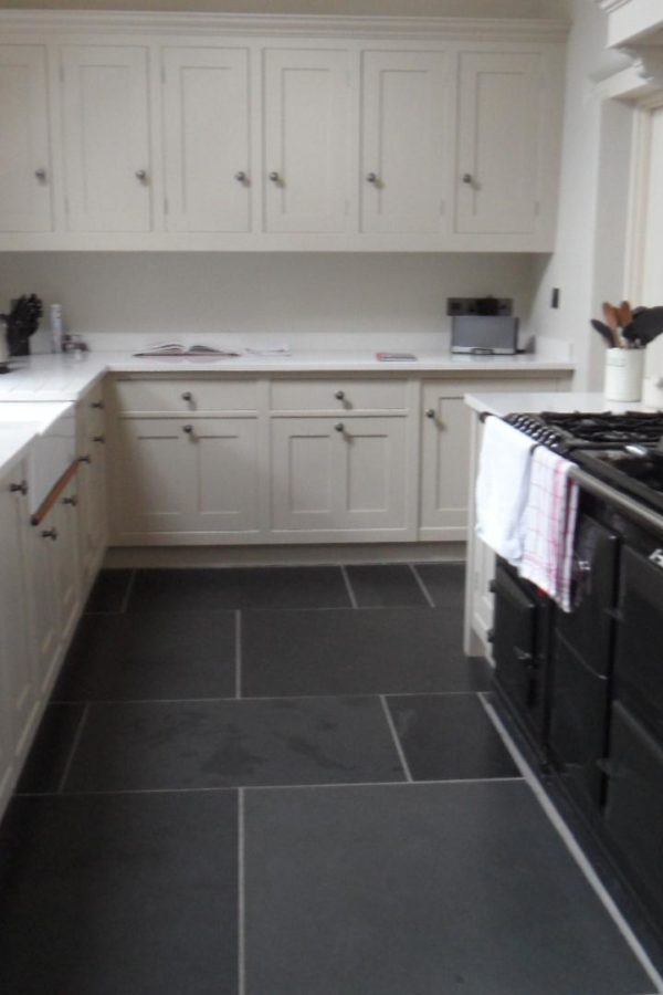 Dark Grey Kitchen Floor Slate Tiles With White